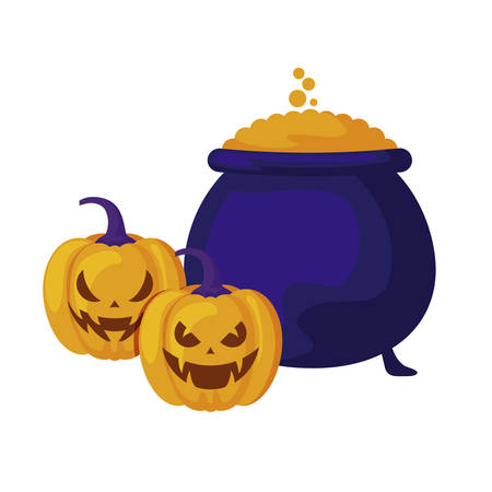 halloween pumpkins with cauldron isolated icon vector illustration design Stock Illustratie