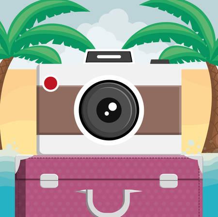 suitcase travel with camera photographic vector illustration design Stock Illustratie