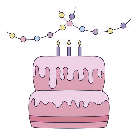 sweet cake of birthday with garlands hanging vector illustration design