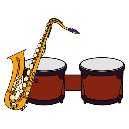 saxophone and timbals instruments musical vector illustration design Banque d'images - 129527287
