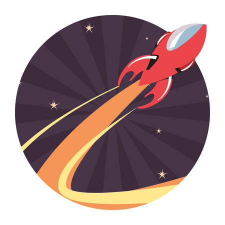 launching rocket spaceships mission vector illustration design  イラスト・ベクター素材