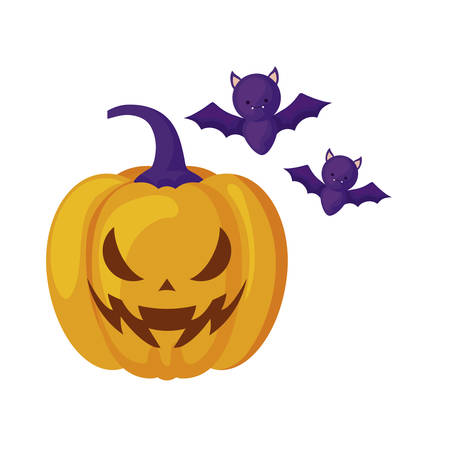 halloween pumpkin with bats flying vector illustration design Stock Illustratie