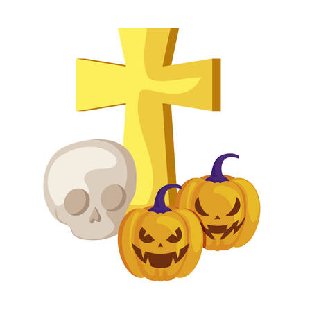 halloween pumpkins with cross and skull vector illustration design