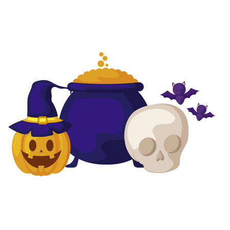 pumpkin with cauldron and icons halloween vector illustration design Stockfoto - 129527875