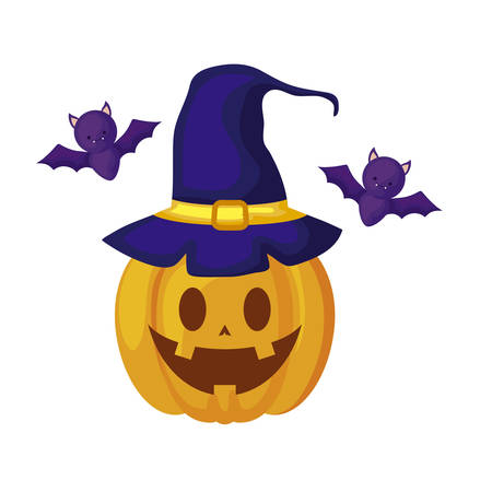 halloween pumpkin with witch hat and bats flying vector illustration design Stock Illustratie