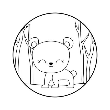 cute bear animal in forest scene vector illustration design