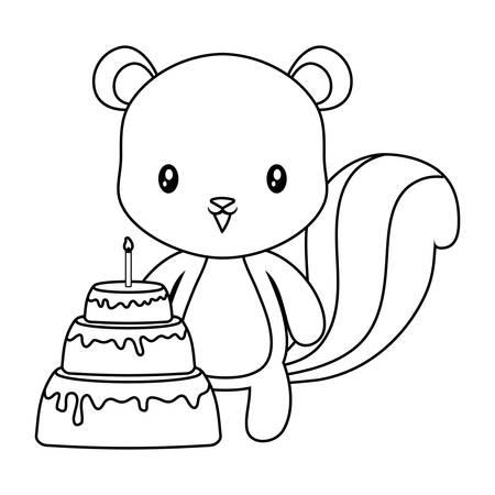 cute chipmunk animal with cake of birthday vector illustration design Çizim