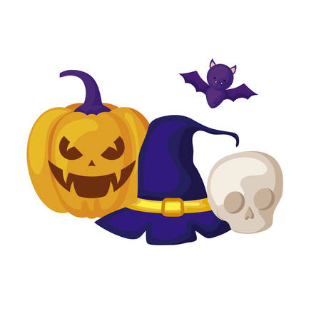 pumpkin with hat witch and icons halloween vector illustration design Stock Illustratie