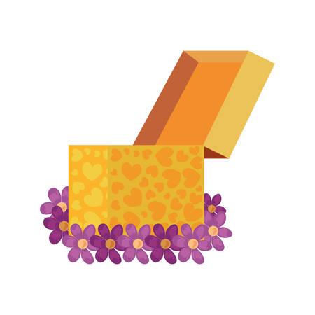 gift box flowers white background vector illustration Illustration