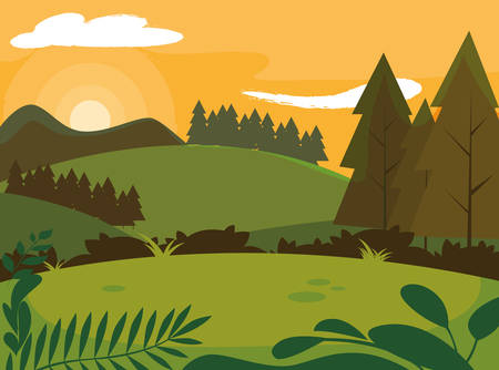 day landscape with pines trees scene natural vector illustration design Çizim
