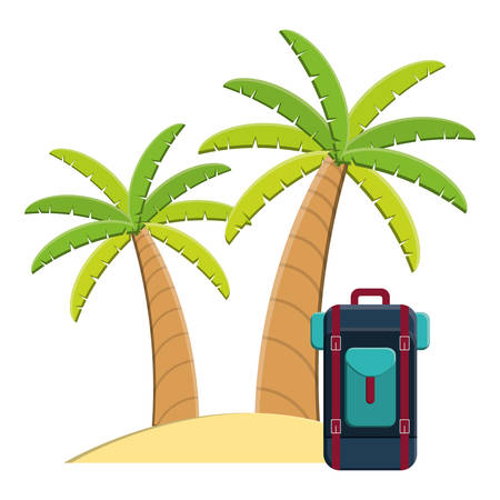 trees palms beach scene with travelbag vector illustration design