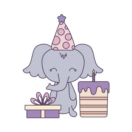 cute elephant with cake of birthday and gift box vector illustration design