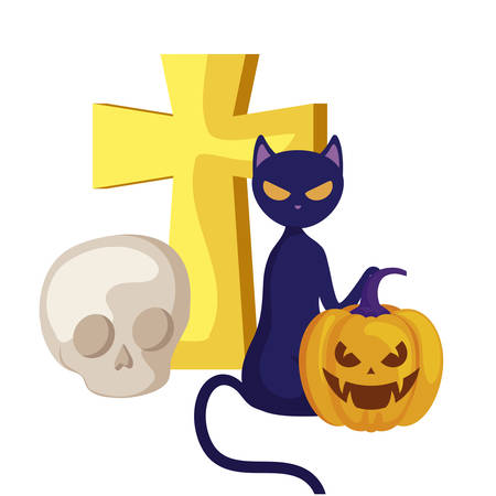 pumpkin with cross and icons halloween vector illustration design