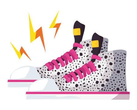 sneaker power retro 80s style vector illustration