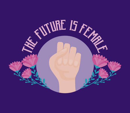 the future is female card with hand fist vector illustration design
