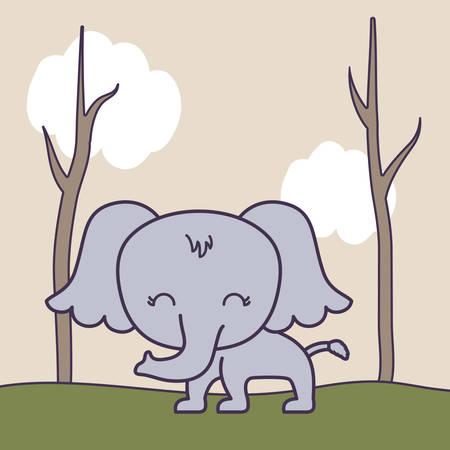 cute elephant in forest scene vector illustration design Stock Illustratie