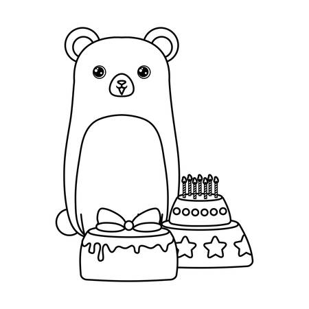 cute bear with cakes of birthday vector illustration design
