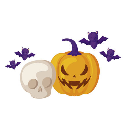 pumpkin with skull and icons halloween vector illustration design