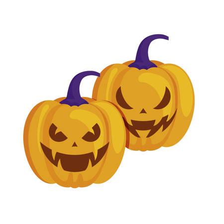 halloween pumpkins traditional isolated icon vector illustration design Stockfoto - 129528029