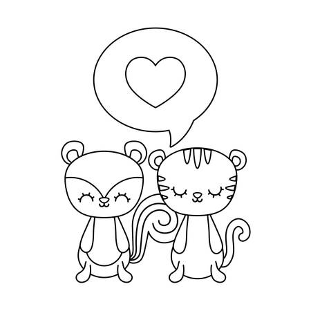 cute chipmunk with tiger and speech bubble vector illustration design Çizim