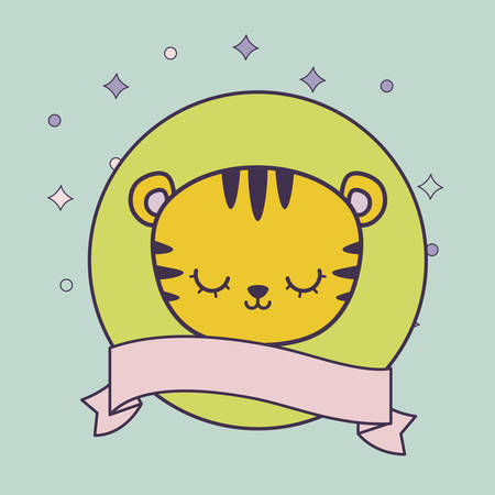 head of cute tiger in frame circular with ribbon vector illustration design