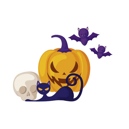 halloween pumpkin with cat and icons vector illustration design