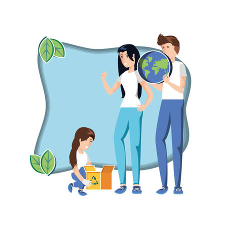family with world in eco friendly scene vector illustration design  イラスト・ベクター素材