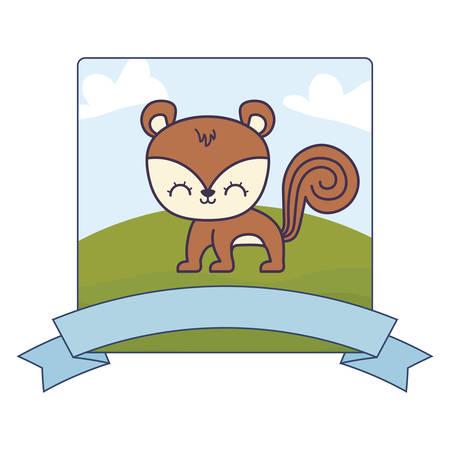 cute chipmunk in landscape with frame and ribbon vector illustration design Çizim