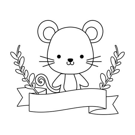 cute mouse animal with ribbon and branches of leafs vector illustration design Çizim