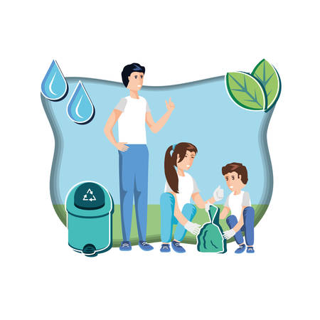 family with waste garbage recycling in eco friendly scene vector illustration design  イラスト・ベクター素材