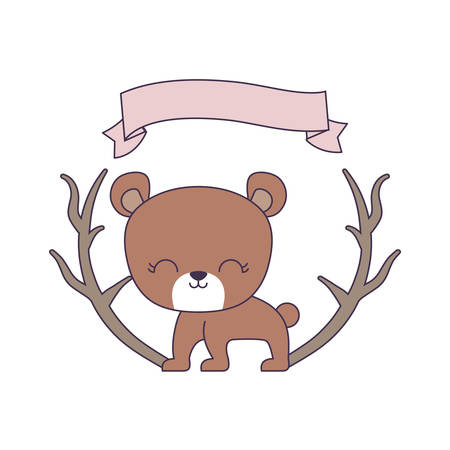 cute bear animal with ribbon and branches vector illustration design Çizim