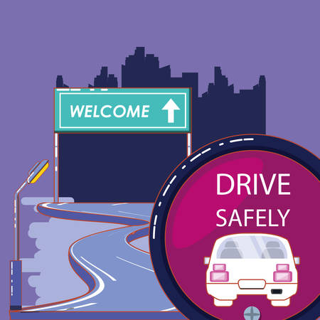 drive safely design with road and welcome board over purple background, colorful design. vector illustration