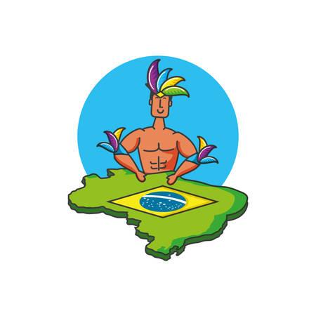 man brazilian dancer with map of brazil vector illustration design Stock fotó - 129529217