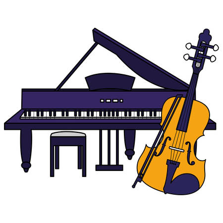 fiddle and grand piano instruments vector illustration design Banque d'images - 129529210