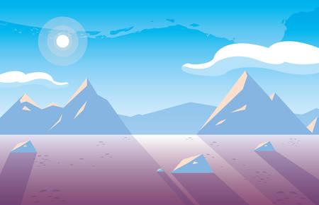 snowscape nature scene icon vector illustration design