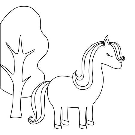 cute unicorn animal with tree plant vector illustration design Illusztráció