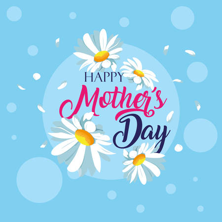 happy mother day card with flowers decoration vector illustration design Illusztráció