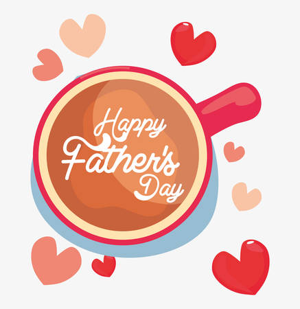 top view coffee cup love happy fathers day vector illustration Illustration