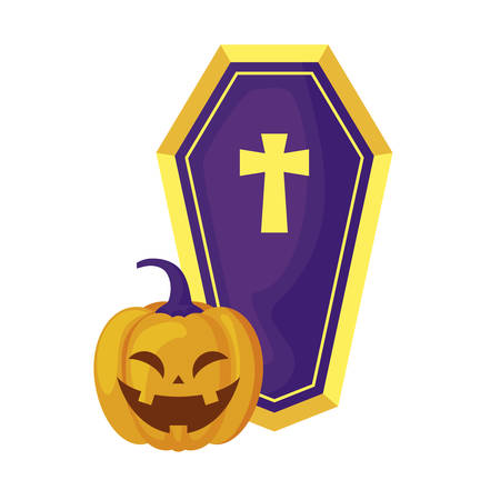 halloween pumpkin with coffin isolated icon vector illustration design