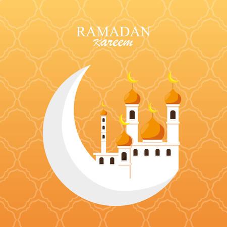ramadan kareem mosque building in moon vector illustration design Illusztráció