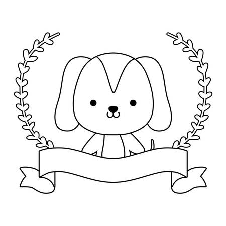 cute dog animal with ribbon and branches of leafs vector illustration design