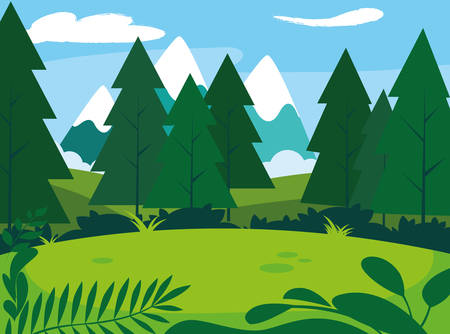 sunny landscape with pines trees scene natural nature vector illustration design