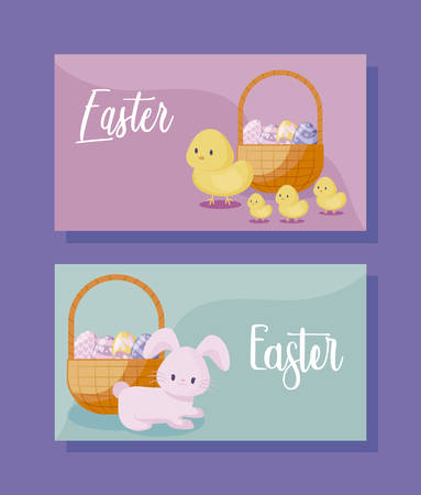 cards with cute rabbit and chickens of easter vector illustration design