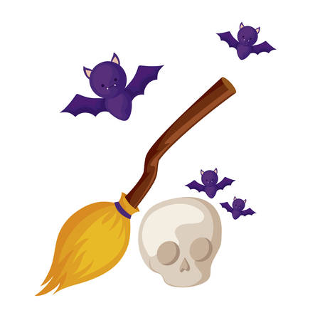 bats flying halloween with broom witch and skull vector illustration design Banque d'images - 129530185