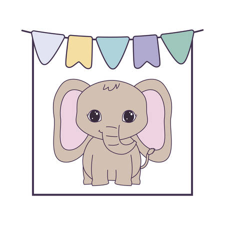 cute elephant animal with garlands hanging vector illustration design Stock Illustratie