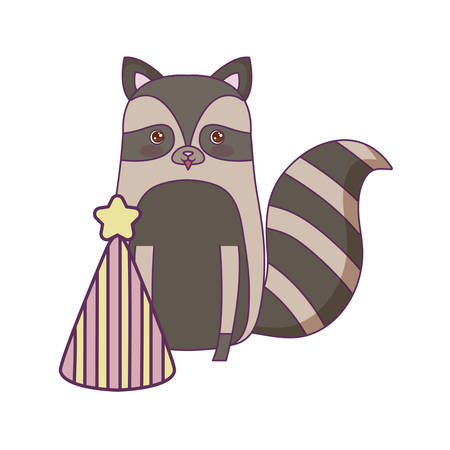 cute raccoon animal with hat party vector illustration design