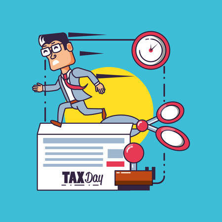 tax day with businessman and set icons vector illustration design Иллюстрация