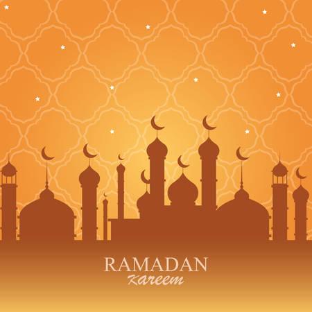 ramadan kareem mosque building traditional vector illustration design Illusztráció