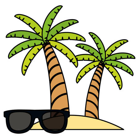 trees palms beach scene with sunglasses vector illustration design