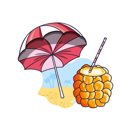 cocktail of pineapple in the beach with umbrella vector illustration design